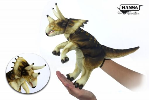 Mooie Groene Triceratops handpop roomwit/bruin  43 cm kopen