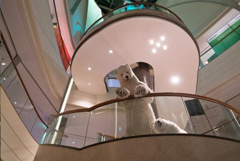 Pluchen dier ijsbeer als aankleding in winkel
