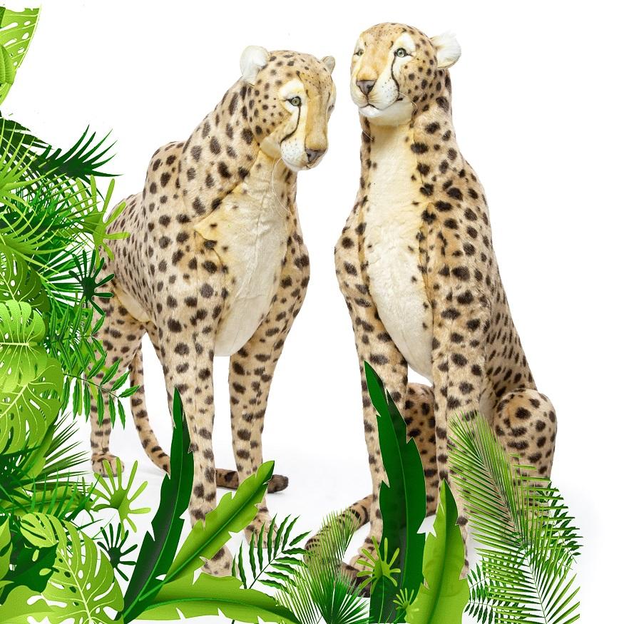 Twee levensechte panters/luipaarden/cheeta's voor inrichting huis