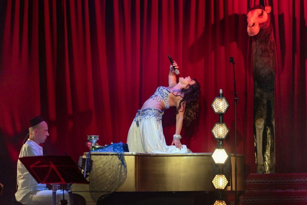 Een pluchen kameel van HansaCreation op het podium bij de voorstelling van Ellen ten Damme.