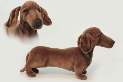 Mooie Bruine Teckel hond miniatuur knuffel  59 cm kopen