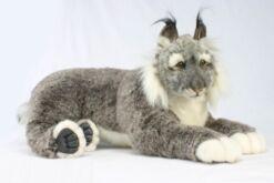 Mooie XL Grijze Lynx liggend knuffel  70 cm kopen