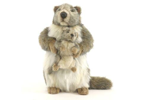 Mooie Licht bruine Marmot met jong knuffel  35 cm kopen