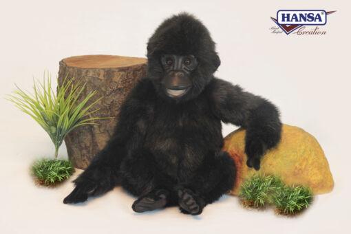 Mooie Zwarte Gorilla geleed knuffel  38 cm kopen