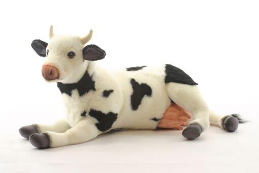 Mooie Witte Koe zwart/wit liggend knuffel  43 cm kopen