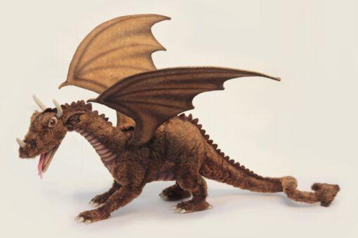 Mooie XL Roodbruine Grote draak knuffel  58 cm kopen