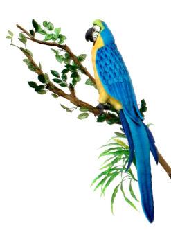 Mooie Blauwe Blauwgele ara decoratie  72 cm kopen