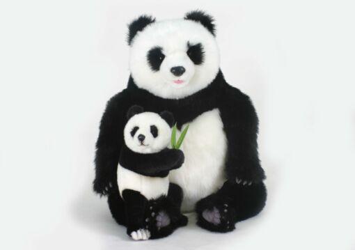Mooie XL Zwarte Panda met jong knuffel  60 cm kopen