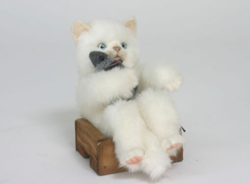 Mooie Witte Witte kat in mandje knuffel  22 cm kopen