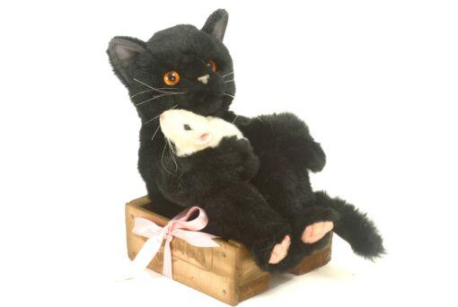 Mooie zwarte kat in mandje knuffel  22 cm kopen