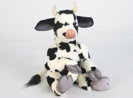 Mooie Zwarte Koe zittend Claude knuffel  35 cm kopen