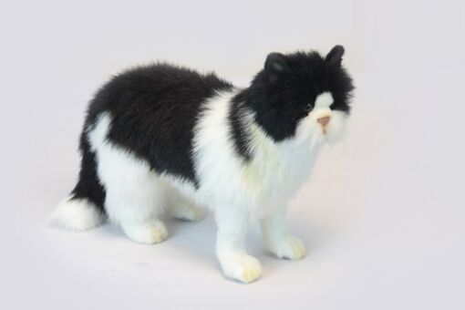 Mooie Zwarte Kat zwart-wit knuffel  46 cm kopen