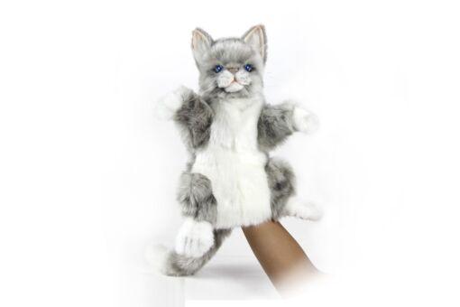Mooie Witte Kat textiel handpop knuffel  30 cm kopen