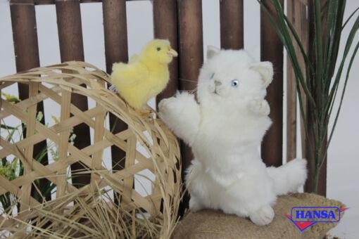 Mooie Witte Speelse kitten knuffel  25 cm kopen