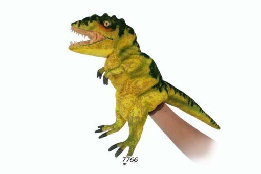 Mooie Fel groene Tyrannosaurus handpop geelgroen knuffel  50 cm kopen