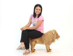 Mooie XL Roze Leeuw   poef  woonkamer 82 cm kopen