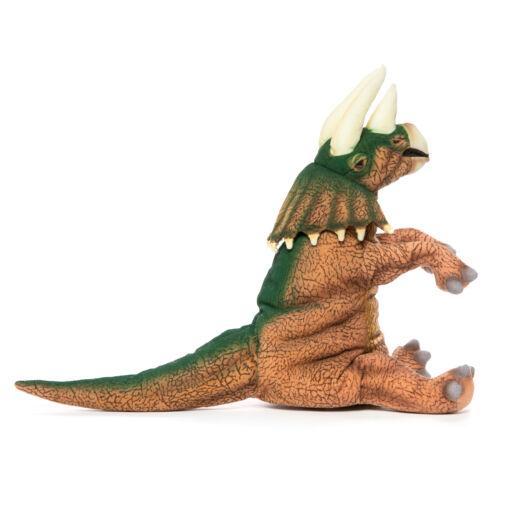 Mooie Creme Triceratops handpop bruin/groen.   knuffel  43 cm kopen