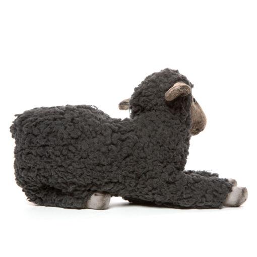 Mooie Grijze Lam liggend zwart knuffel  33 cm kopen