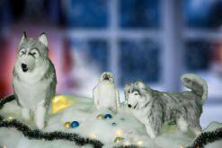 Mooie 1 mamma en 1 jonge ijsbeer lopend, incl kerstsneeuw, - ballen, besneeuwde kerstslinger en kerstverlichting. 202112 lxbxh = xxcm kopen